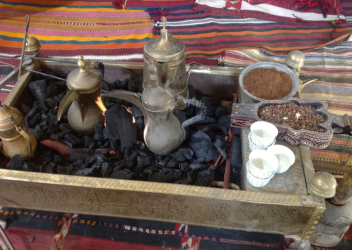 Preparing arabic coffee. Photo taken by Mervat Salman, distributed under  CC BY-SA 3.0  license.