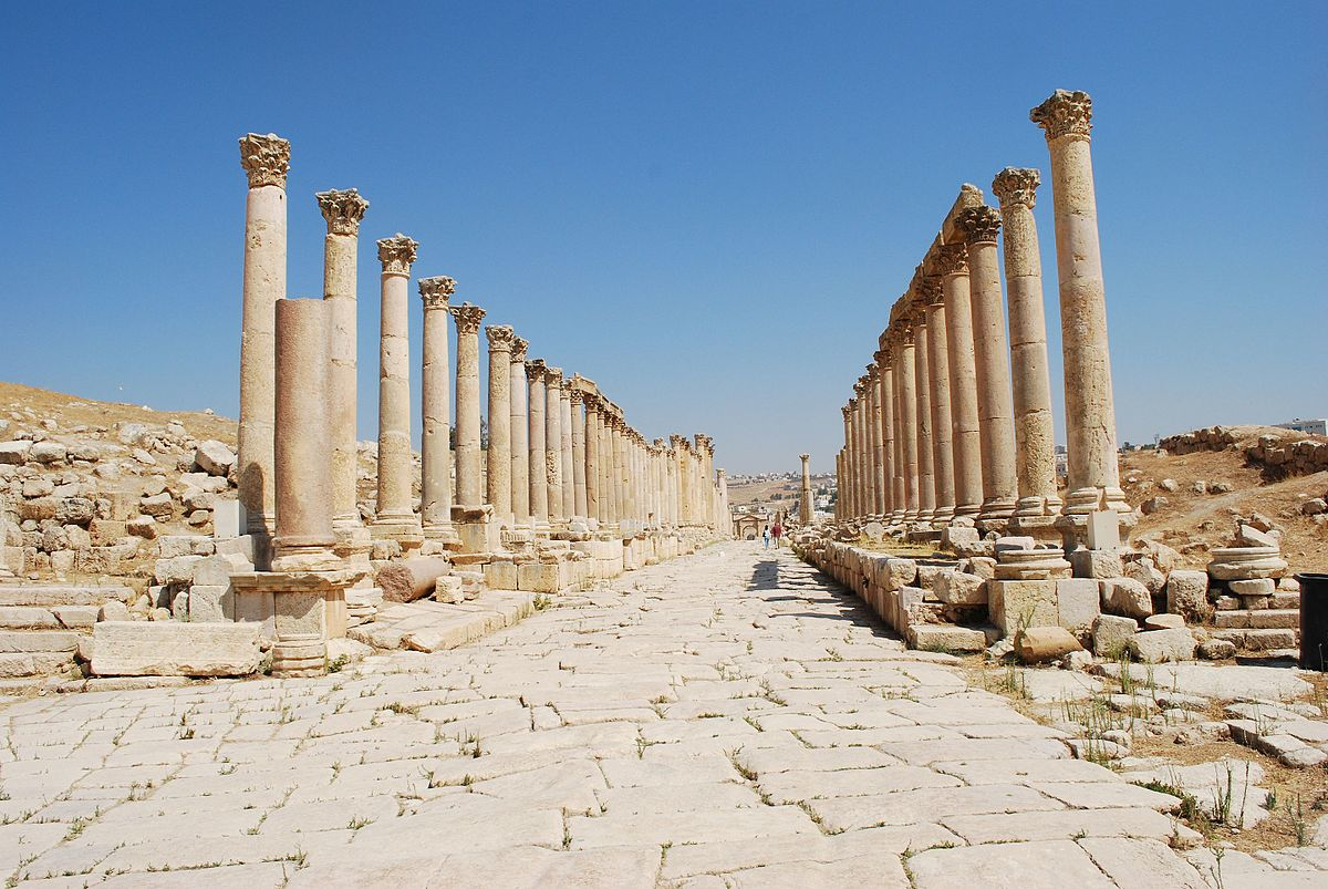 The Cardo at Jerash. Photo taken by Jean Housen, distributed under  CC BY 3.0  license.