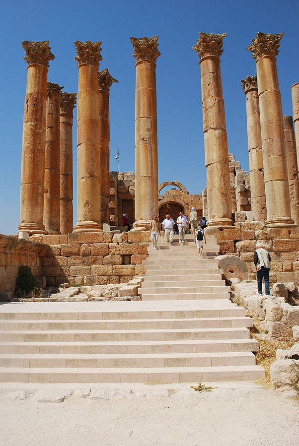 The Temple of Artemis at Jerash. Photo taken by Jean Housen, distributed under  CC BY 3.0  license.