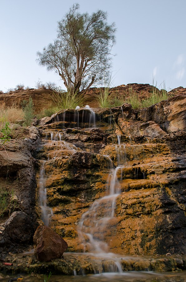 Tiny waterfall in Wadi bin Hammad. Photo taken by Majdiq, distributed under  CC BY-SA 3.0  license.