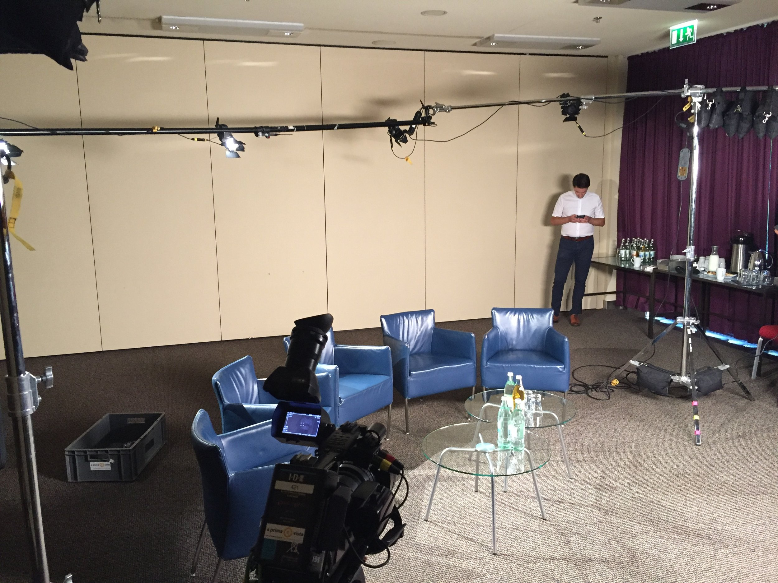Turning a drab hotel room in to a TV studio for a multi-camera shoot.