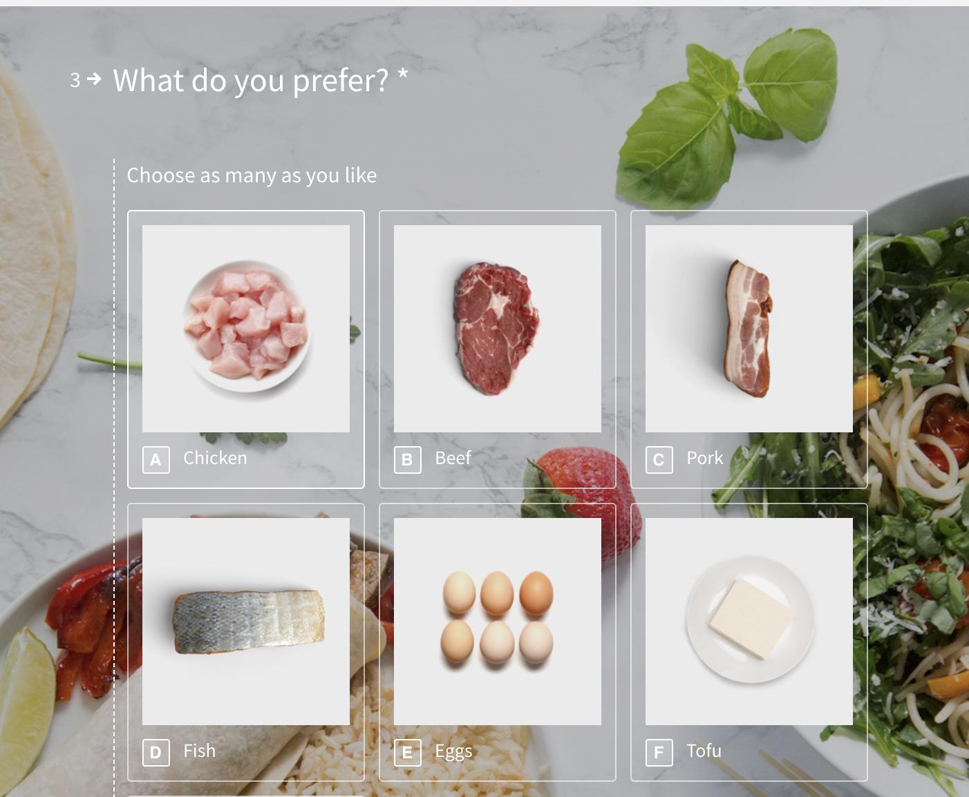 Example recipe quiz.