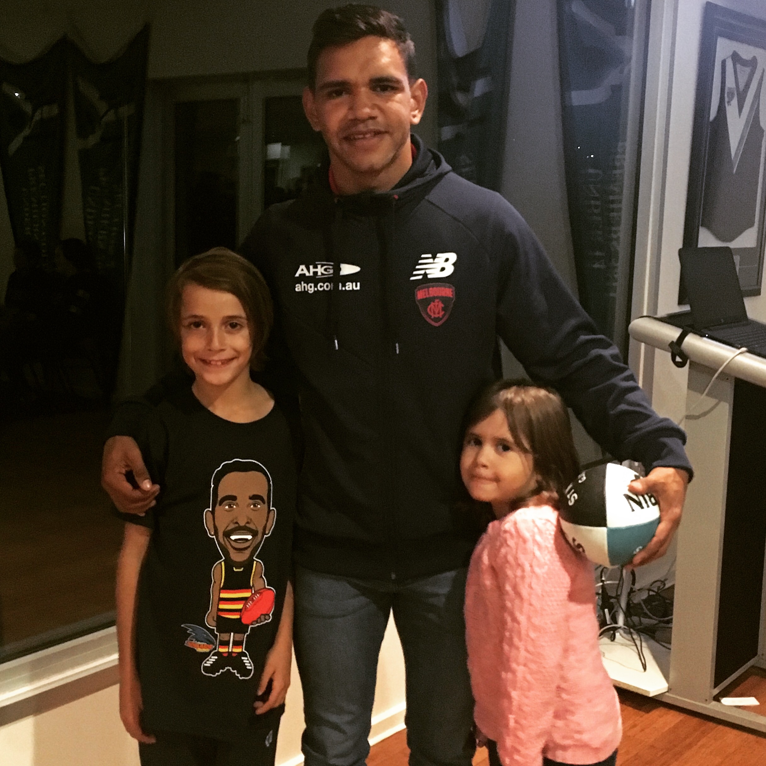 Neville Jetta with my son and his daughter at the St Mary's JFC Indigenous Round Club night.