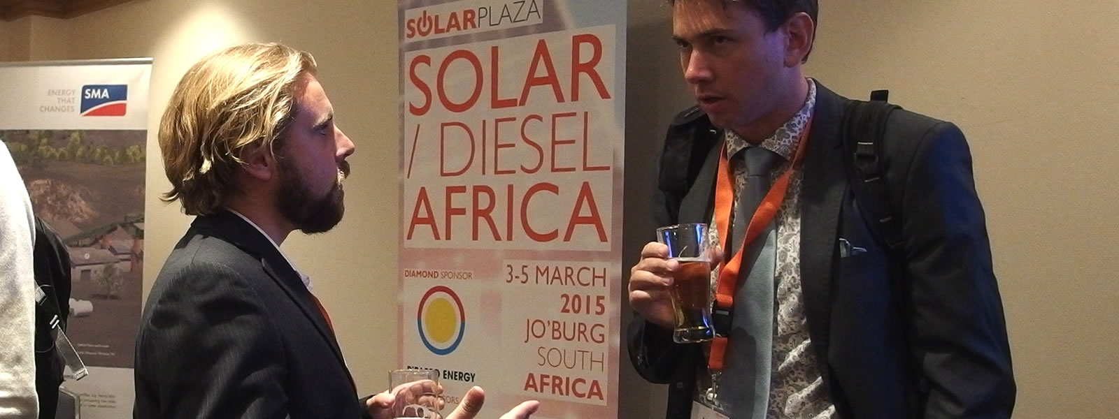 Abe pitching his dream to a fellow participant at Solarplaza's 'Solar/Diesel Africa' conference in (March 2015, Johannesburg )