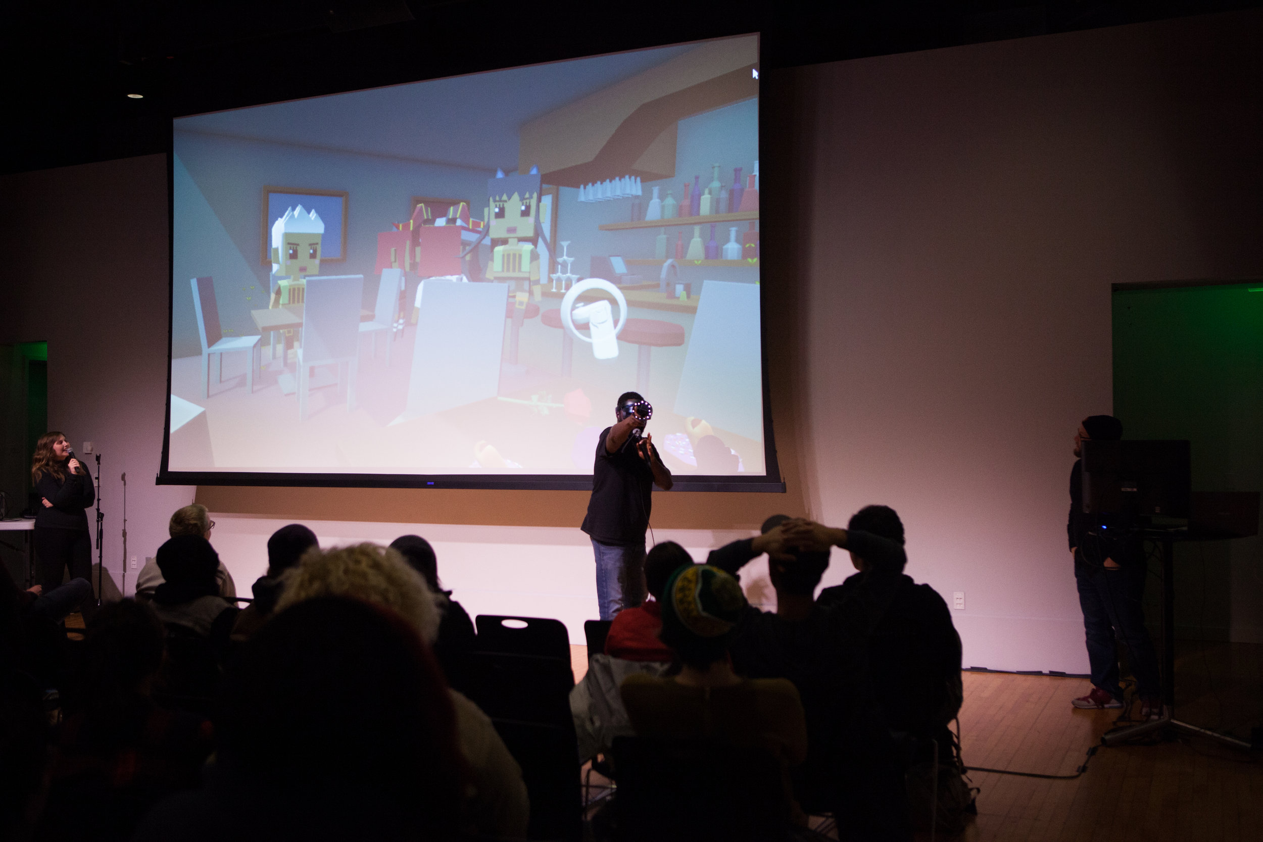 Live VR Experiences - What happens when a comedian enters virtual reality on stage in front of a live audience? Live commentary, humor, and a real-time video feed can draw people in like never before. We create branded VR experiences that can be performed live and downloaded later to play with friends.