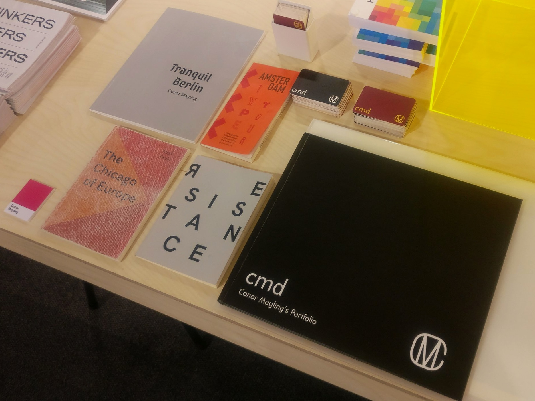 Stand layout of my printed portfolio at New Designers 2019