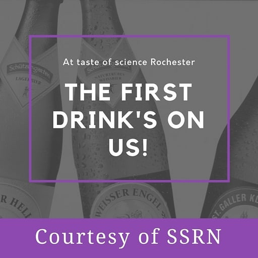 Thanks to #SSRN, we're pleased to be able to offer all our attendees their first drink on us!  Book your places now for some fun science with a drink in hand!  Ticket link in bio.  #tasteofsci #science #scicomm #sciencefestival #rochester #newyork #newyorkstate