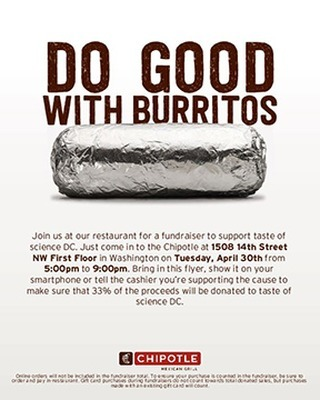 Tonight's the night! Get your fill of burritos and support taste of science DC with dinner at Chipotle on 14th Street NW 🌯👩‍🔬