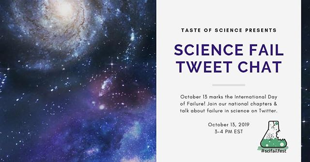 Here at #tasteofsciphl we believe FAILures are just First Attempts at Learning in disguise! Join us on Oct 13, 3 pm EST, for a #scifailfest Twitter Chat to celebrate international failure day as we highlight science fails! Have a #sciencefail you'd like to share? Comment below or DM us! We'll be sharing contributions on our Twitter this Sunday. . #scicomm #outreach #failure #learning #tasteofsci