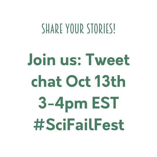We want to hear from scientists out there. Share your stories of failure with us and enter our prize draw (link in the bio). Science is often a struggle and we want others to know they are not alone! Then join us for our first Tweet Chat on the subject on Oct 13th 3-4pm eastern time.  #SciFailFest #ScienceFailures #DayForFailure #tasteofsci #scicomm #science