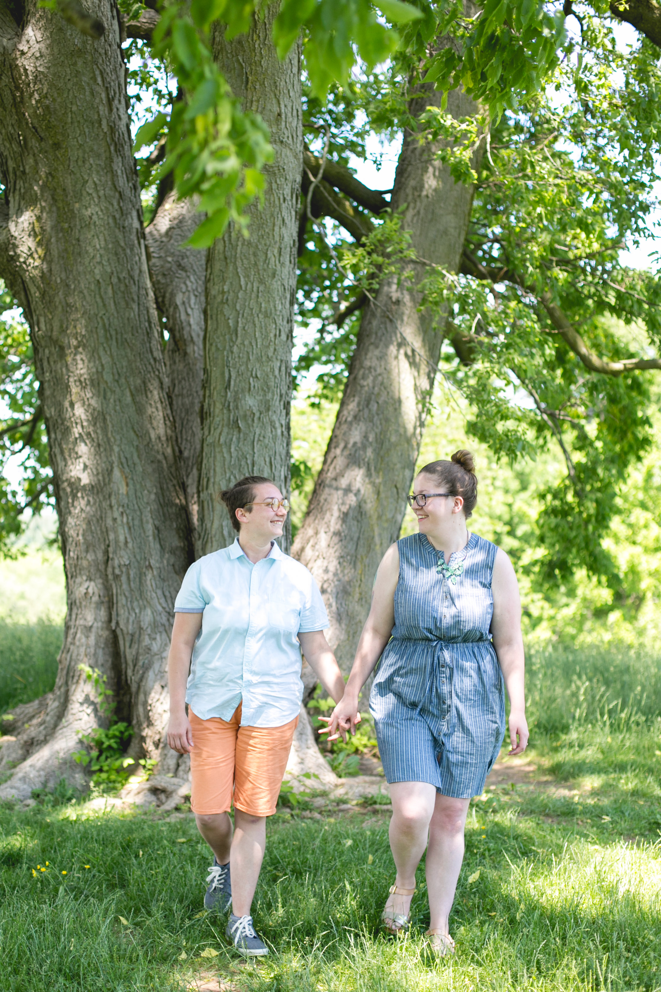 A spring Valley Forge State Park, King of Prussia Pa Queer Engagement session with Alex and Lee