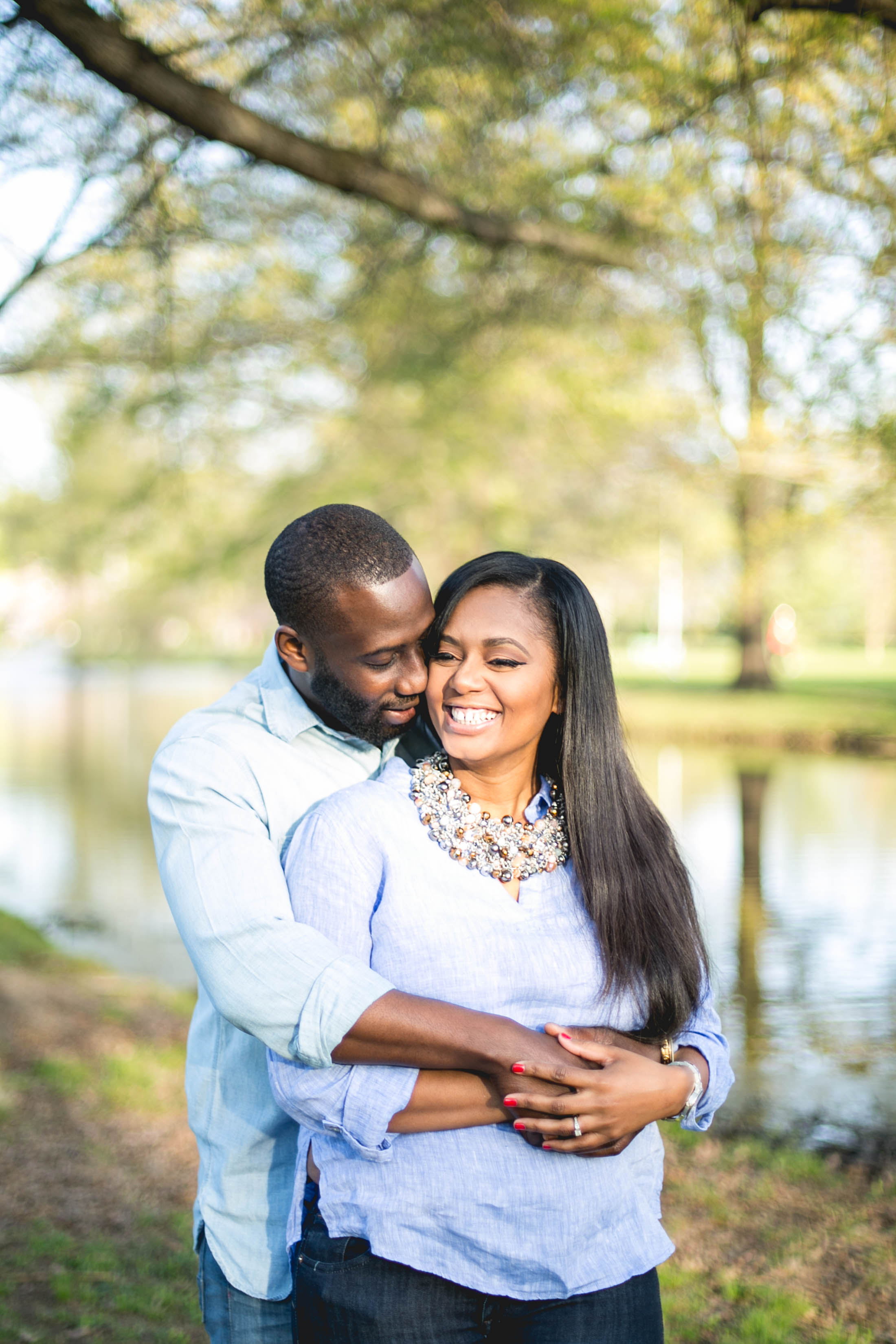 These two got married at a beautiful estate that had a lake, so for their engagement photos they picked a park that looked a lot like their wedding venue and the results was perfection!