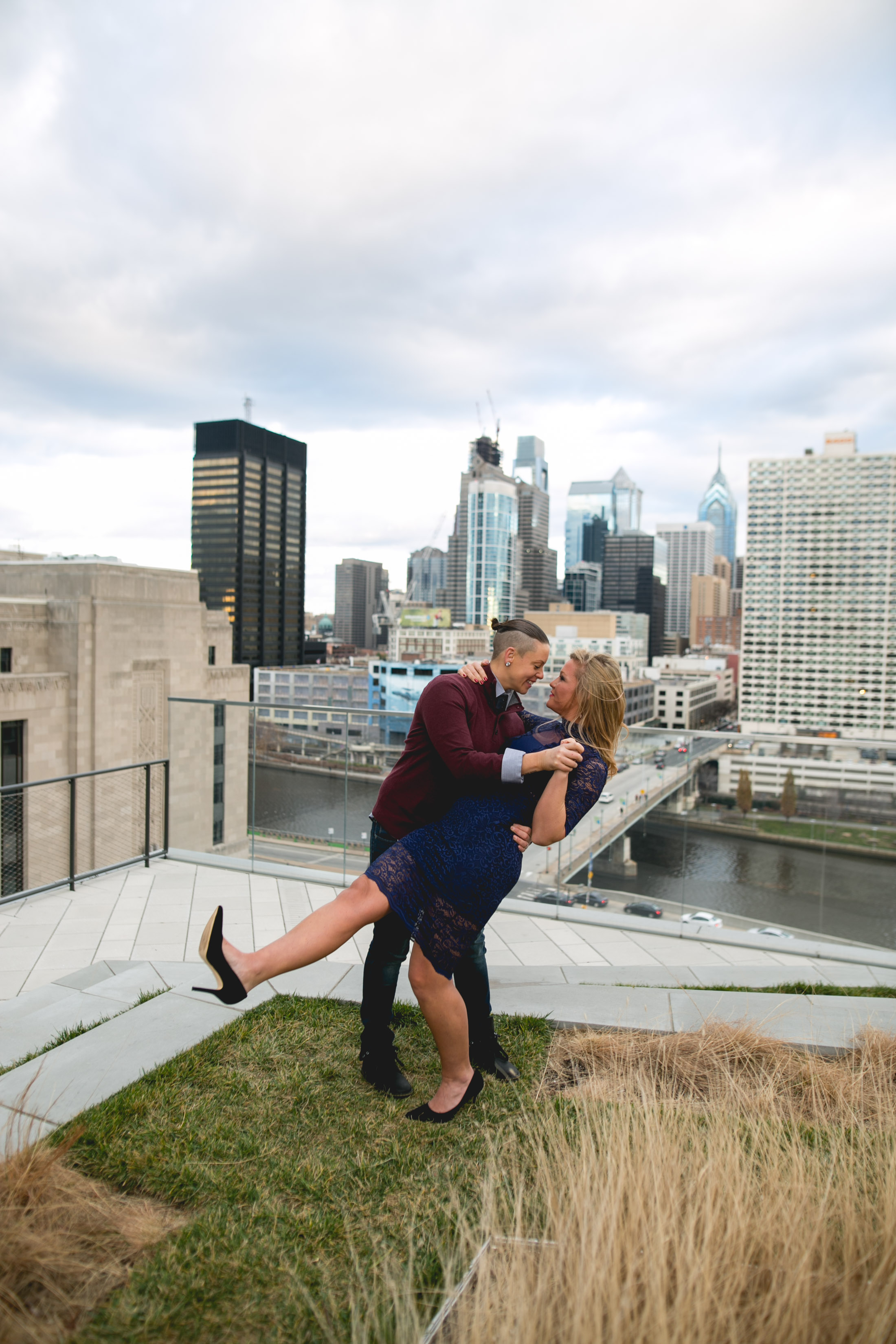 Center City Philadelphia Lesbian Engagement Shoot