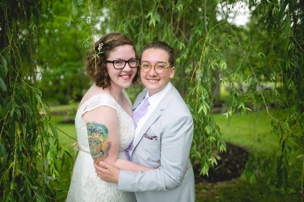 """Alex and Lee got married at Alex's family farm in the burbs of Philadelphia and it was the sweetest celebration and is also one of my favorite weddings of all time. Lee chose to go by """"broom"""" - a combo of bride and groom and I love that they found a way to give themselves a title that felt right for them!"""