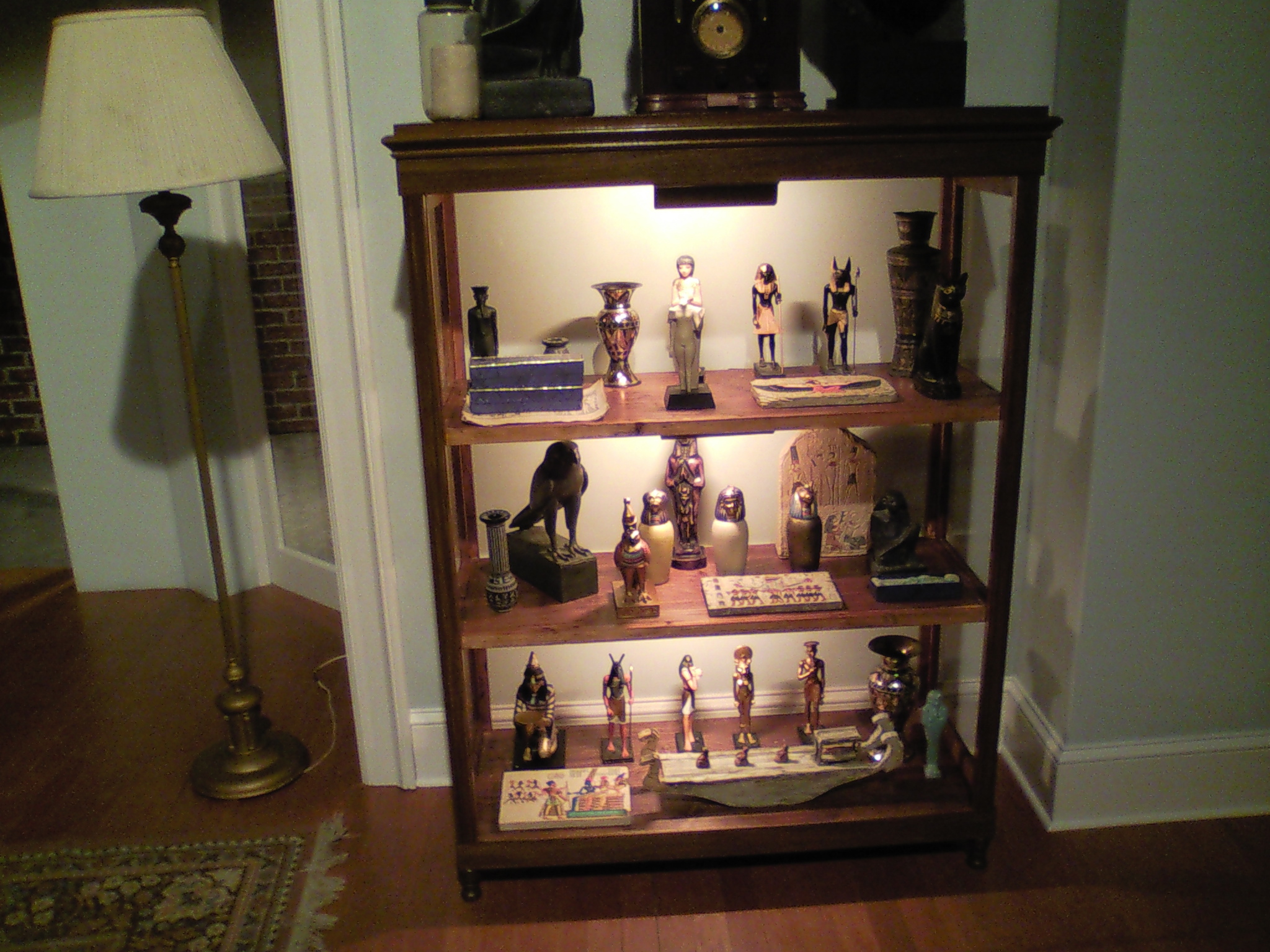 Freud's Last Session  curio cabinets fully dressed.