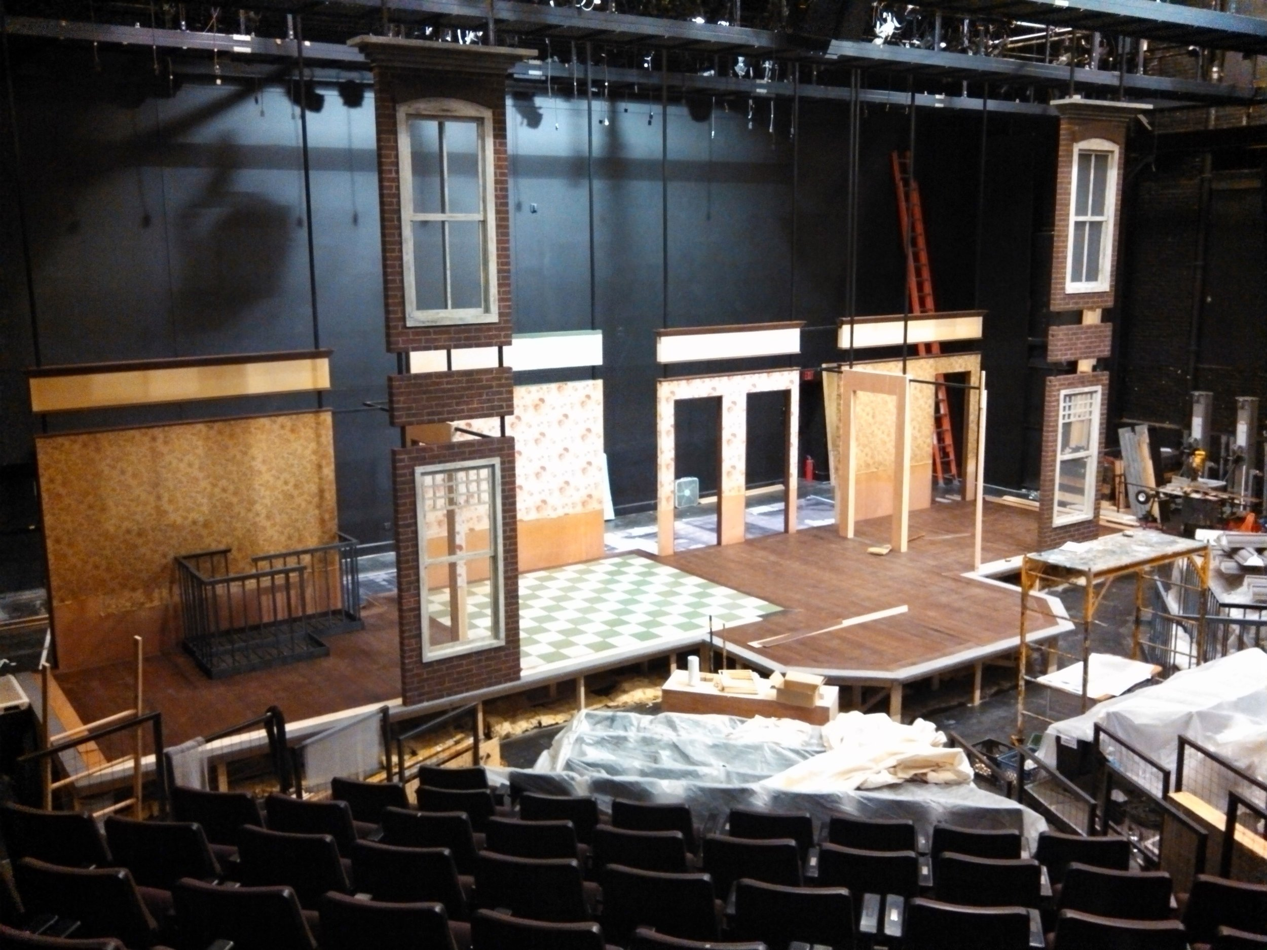 House Left view of  A Raisin in the Sun  set under construction.