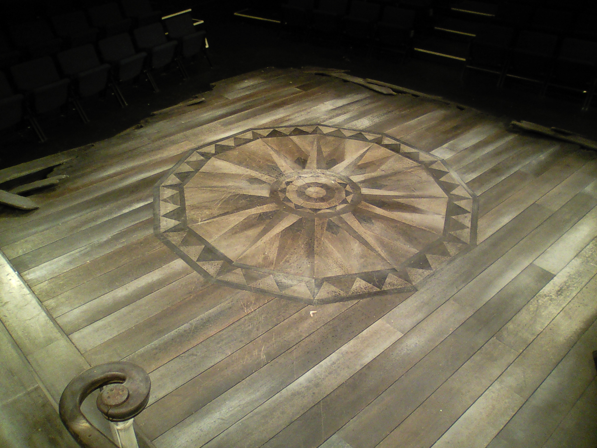 Detail of flooring and rosette for  The Whipping Man , all made with individual pieces of stained lauan.