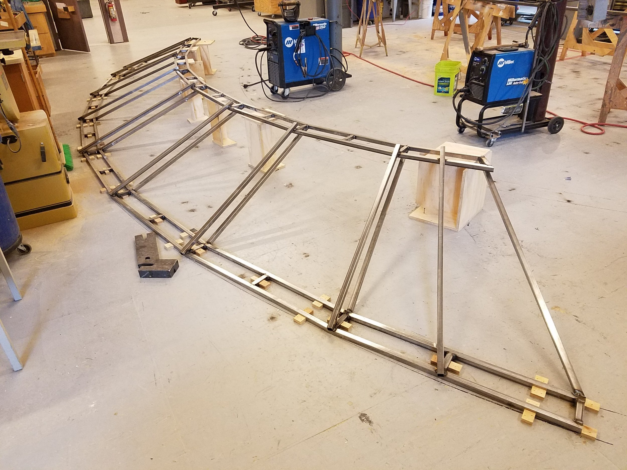 Assembling both trusses into one archway.