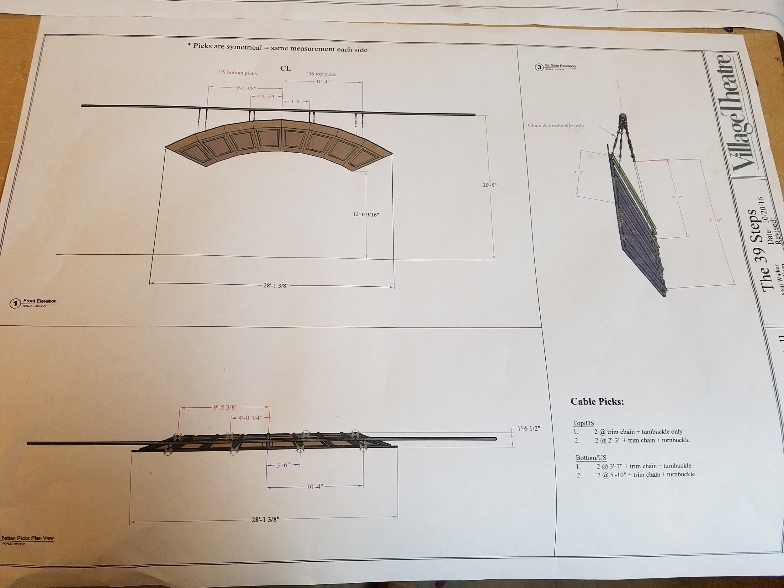 Drawings for the arch's hanging position.