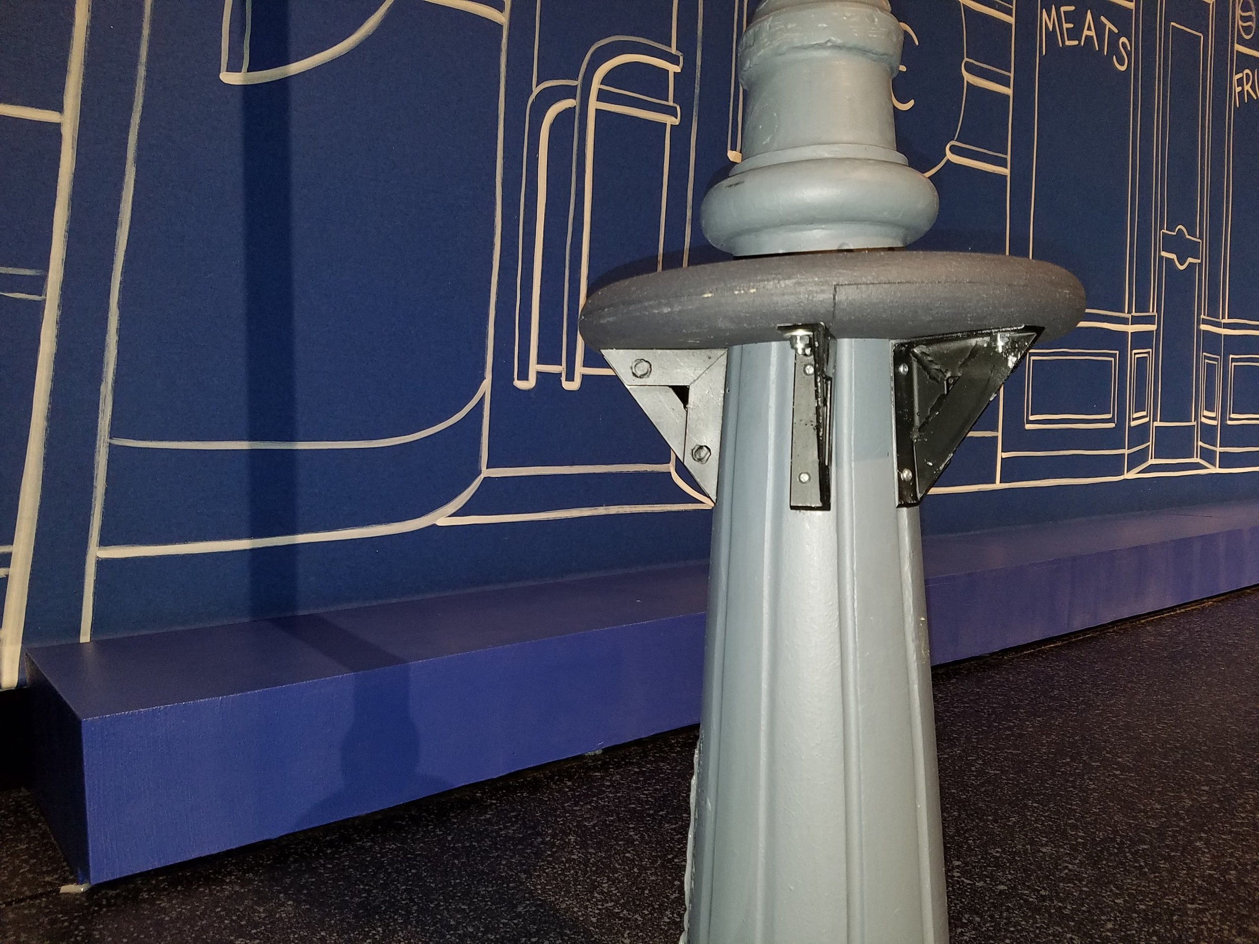 The lamppost as seen on stage with new step attached.