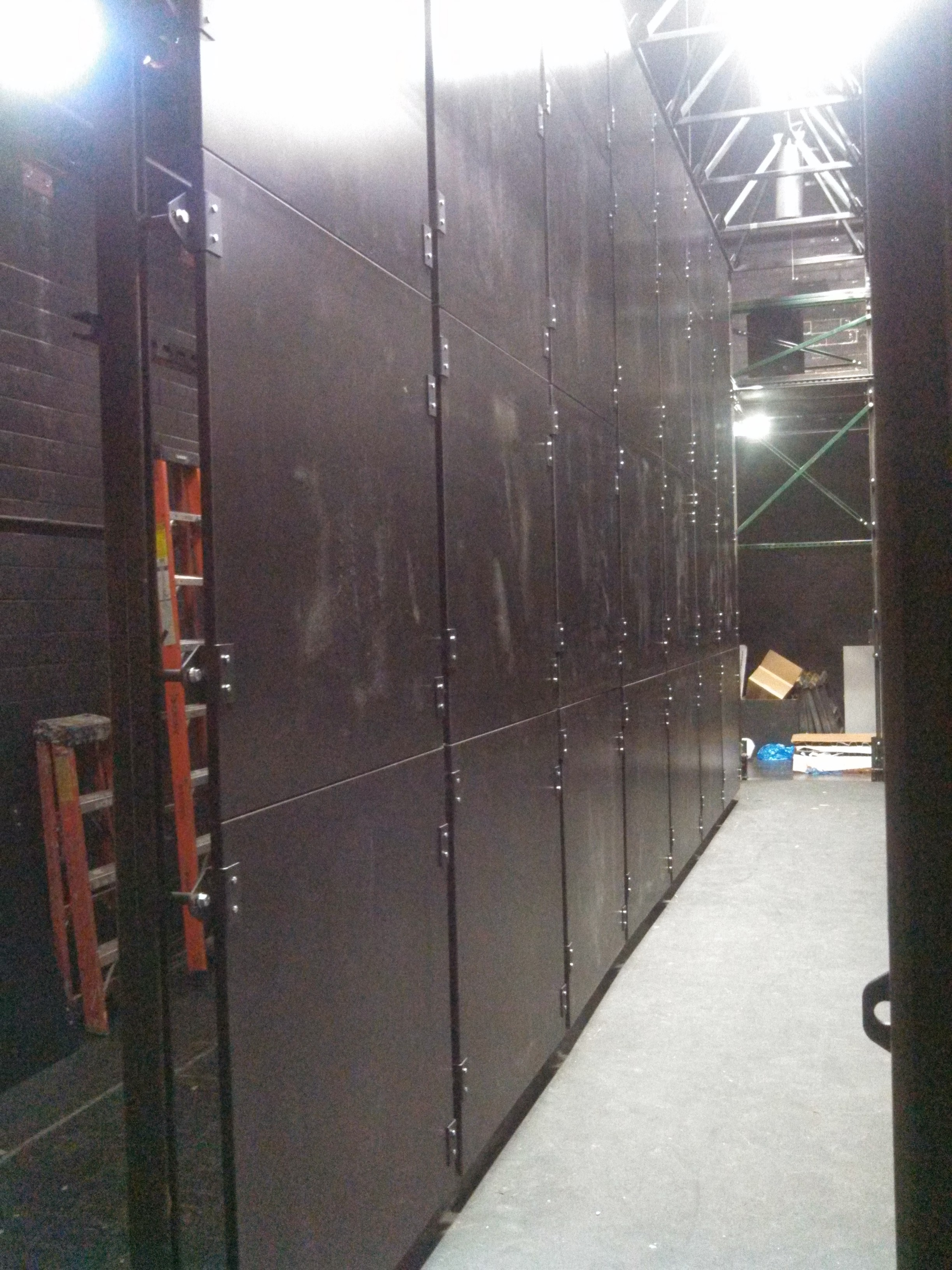 Front side of new modular panel wall.