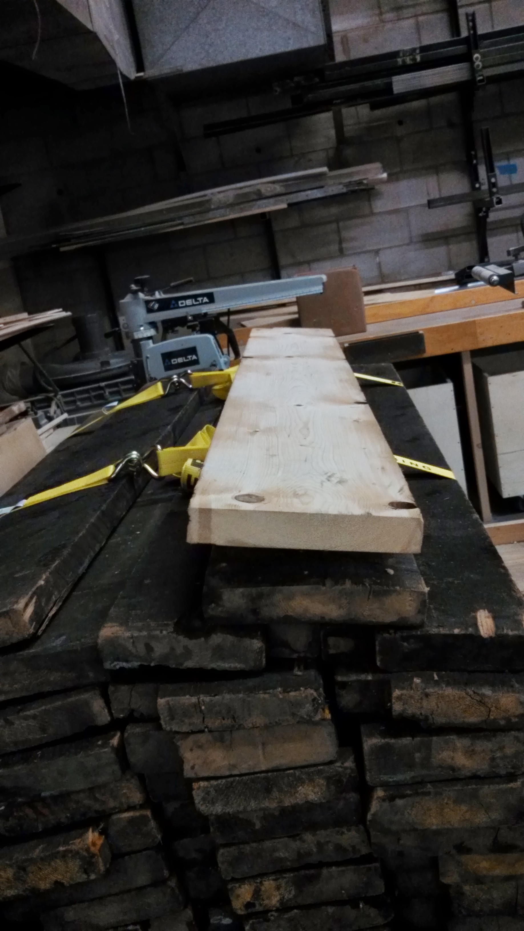 Wooden plank after having 80 years of dirt and dust planed off.