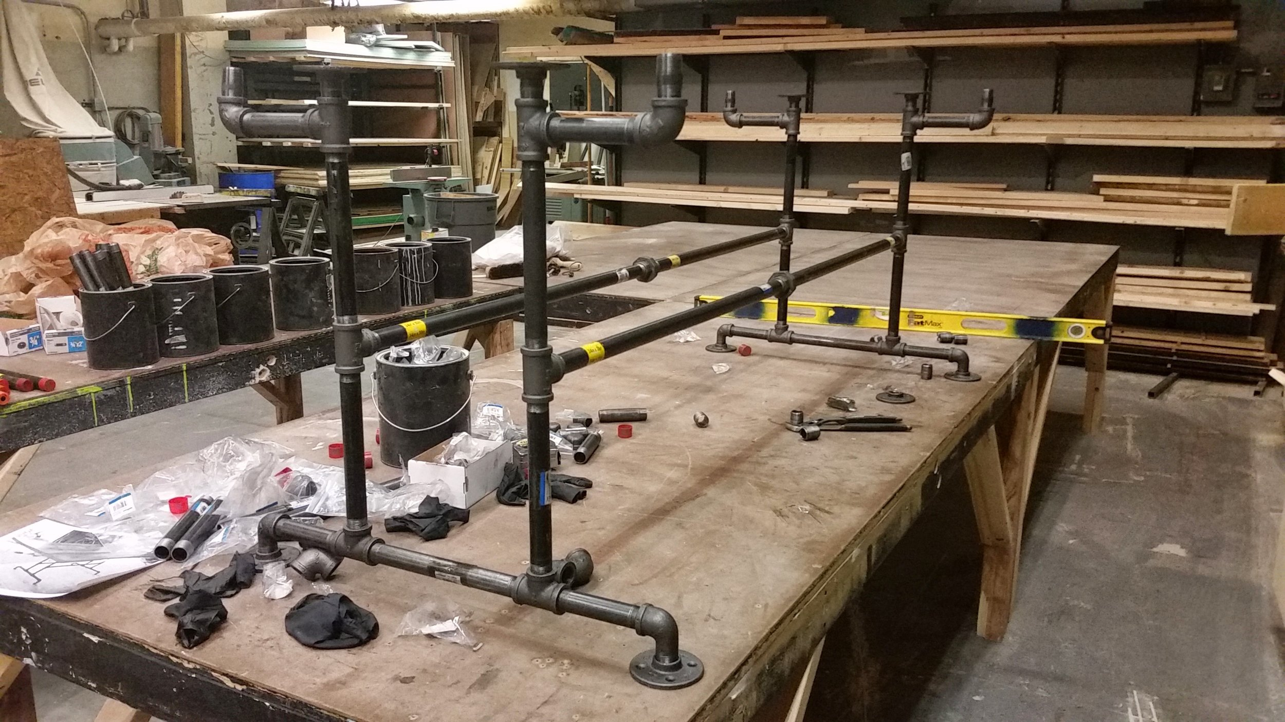 "Table frame constructed using 1"" black pipe and fittings."