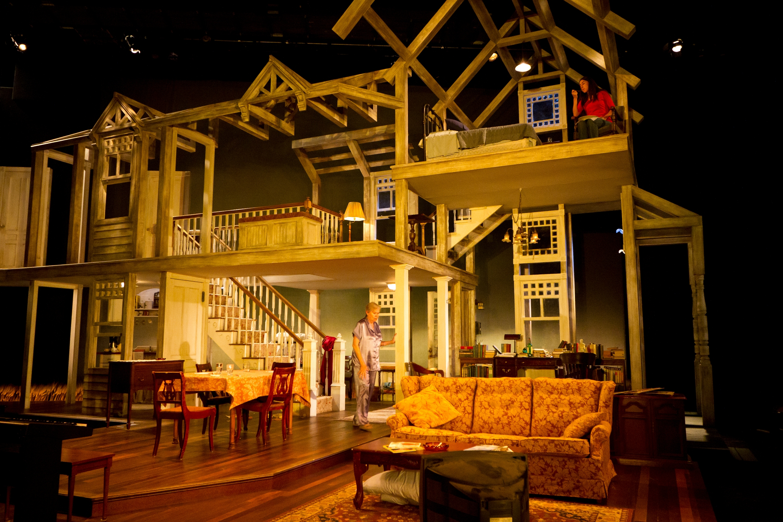 The  August: Osage County  house on the F. Otto Haas Stage as seen during a performance.