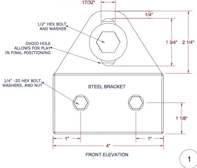 Drafting detail of custom steel brackets for the  Studio