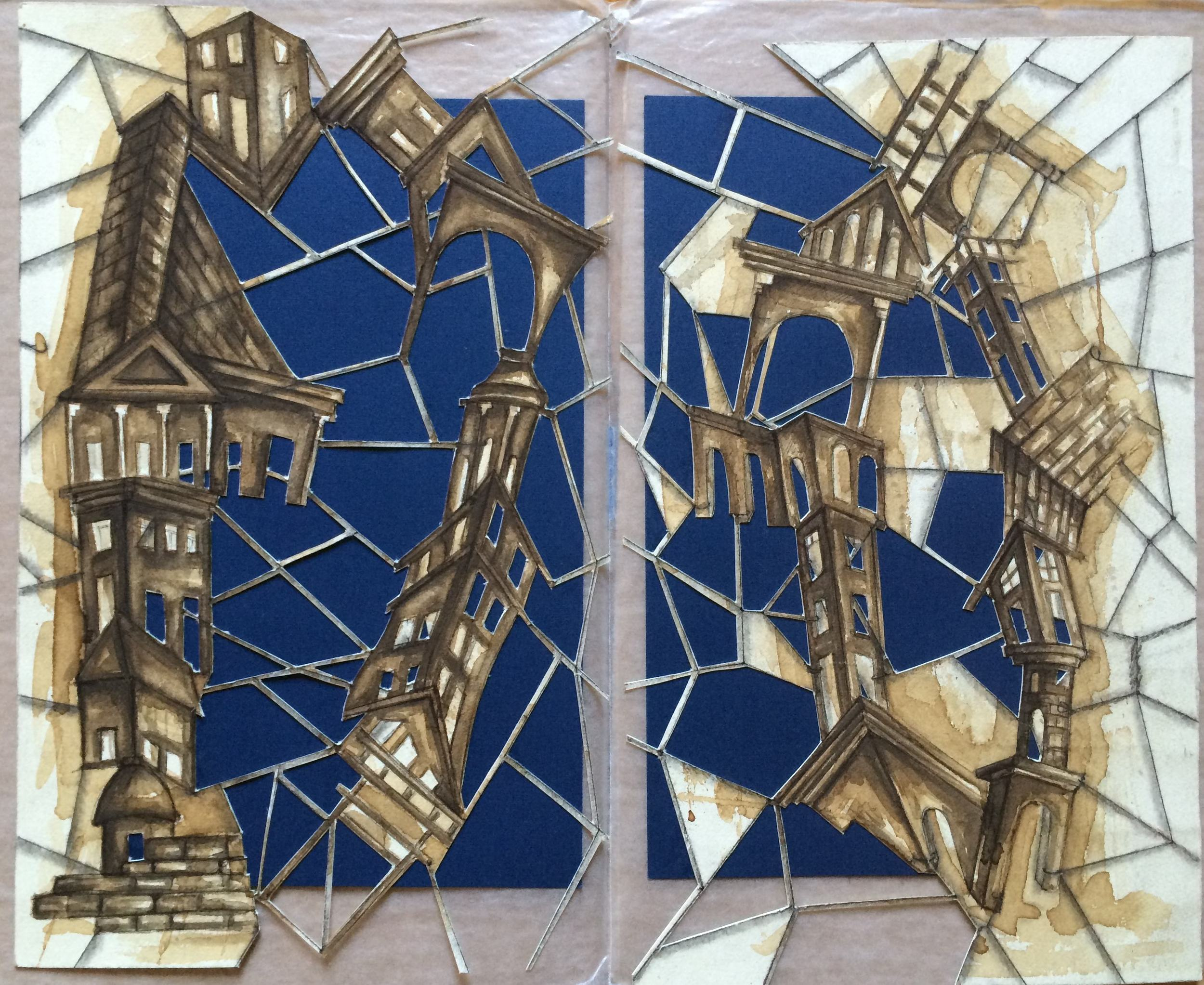 3rd version: Rodríguez cuts through areas, adds blue background