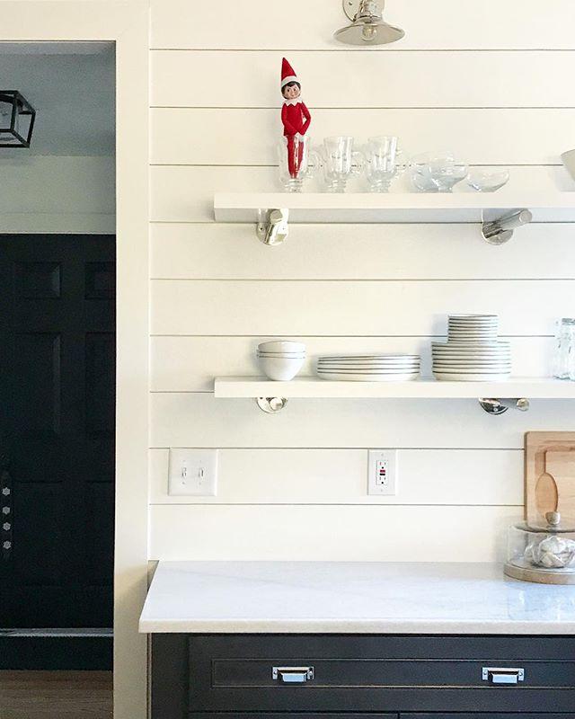 """Toys"" The Elf has officially appeared on the shelf ✨ . . . . #kitchendesign #interiordesign #interiordesigner #treesidelane #restorationhardware #magnoliahome #christmasdecor #elfontheshelf"
