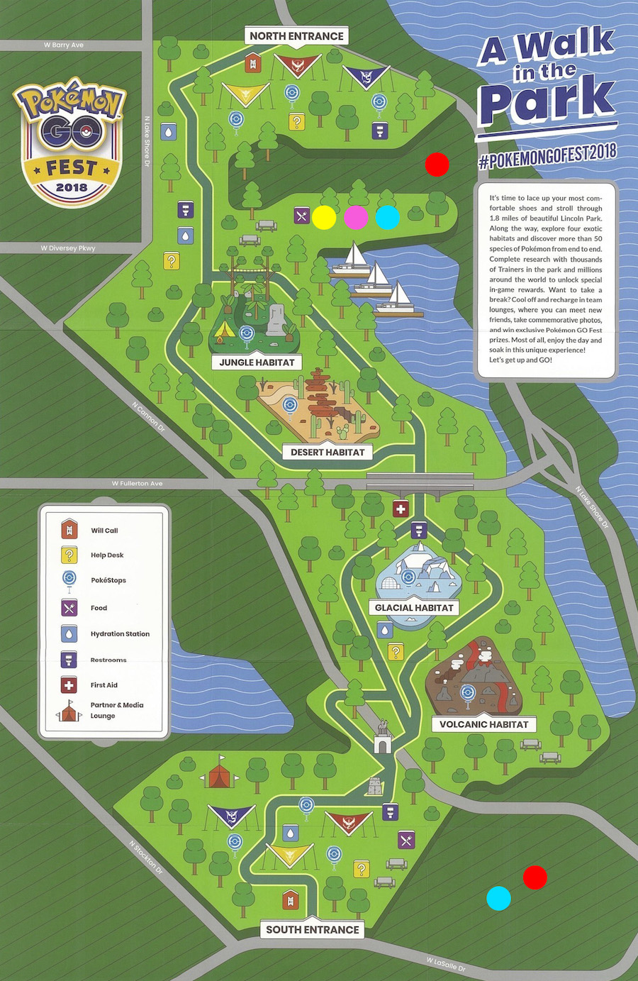 A map of the festival area with COLT locations.