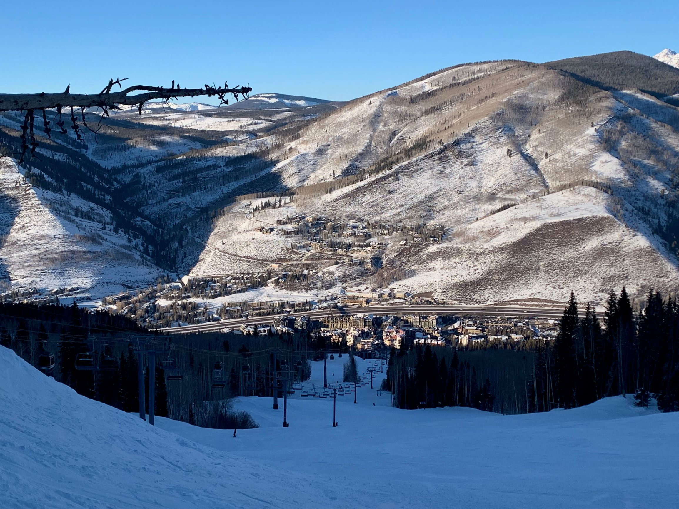 Viewing Vail Village from the slopes on a beautiful blue-sky day.