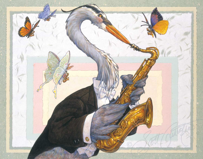 Saxophones: Mr. Great Blue Heron, Ms. Luna Moth, Ms. Monarch Butterfly, Ms. Spring Azure Butterfly, Mr. California Dogface Butterfly