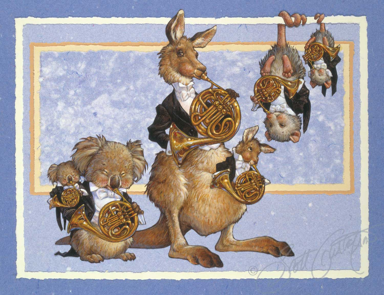 French Horns: Madam Koala, Master Koala, Madam Kangaroo, Master Kangaroo, Madam Opossum and Master Opossum
