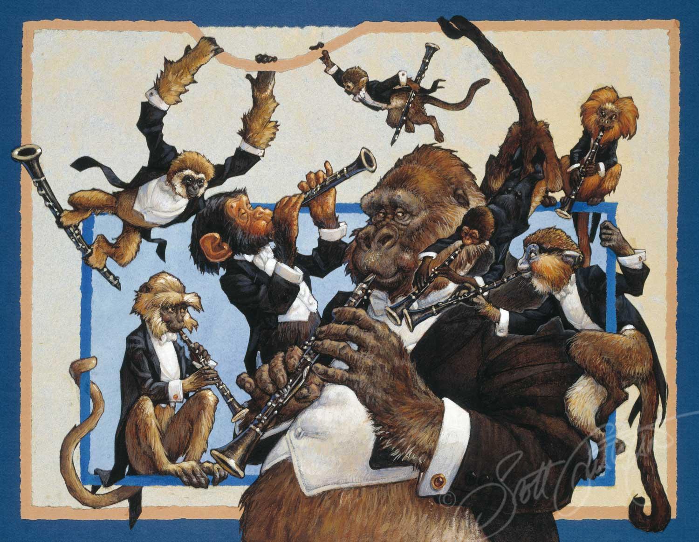Clarinets: Mr. Gibbon, Mr. Hanuman Langur, Mr. Chimpanzee, Mr. Squirrel Monkey, Mr. Gorilla, Mr. Red Spider Monkey, Mr. Maned Marmoset and   Mr. Mustached Guenon