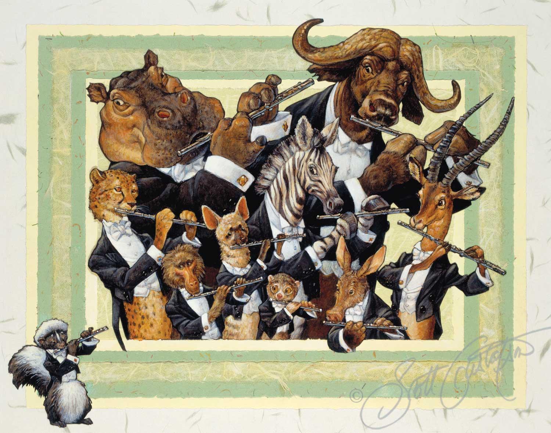 Flutes: Mr. Cheetah, Mr. Baboon, Mr. Aardwolf, Mr. Potto, Mr. Aardvark, Mr. Impala, Ms. Zebra, Mr. Hippopotamus, Mr. Cape Buffalo....and Mr. Skunk