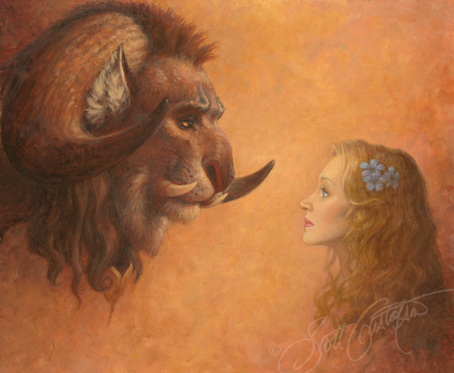 """Beauty Meets the Beast"" - oil on panel, image size approx. 30"" x 12."""