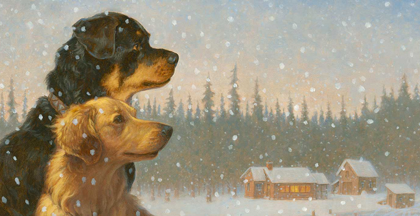"""Detail from the Opening Spread of """"Tara and Tiree"""" - oil on panel, 24"""" X 16,"""" SOLD"""