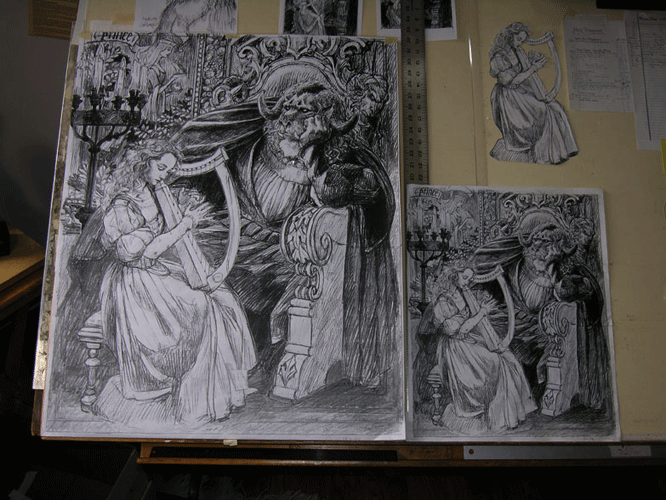This large copy of the final image is now ready to be transferred onto the panel.