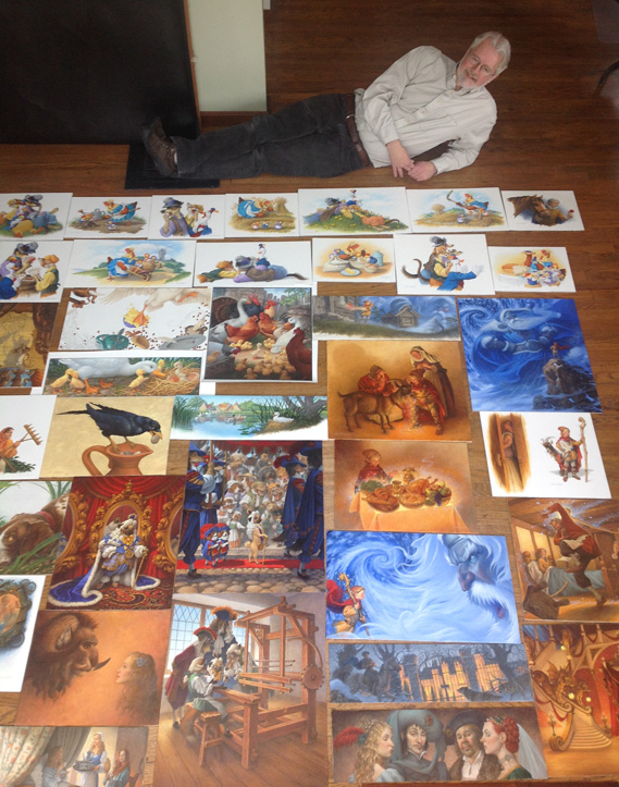 Scott in the studio with most of the 49 original oil paintings from   Classic Storybook Fables !