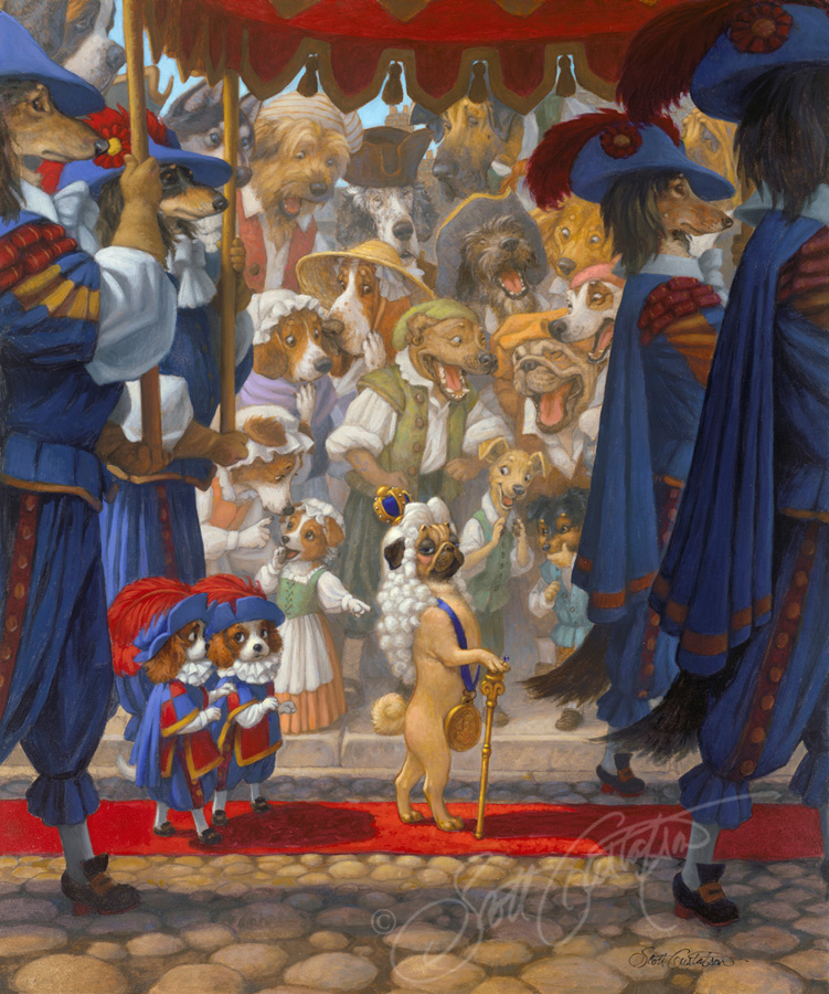 """The Emperor's New Clothes"" in Classic Storybook Fables - oil on panel, approx. 20"" x 24."" This painting is now in an exhibit at the Mazza Museum of International Art from Picture Books, in Findlay, Ohio from June 10 - August 2, 2019. It is also available for sale, so please CONTACT US for more information about the show. Thanks!"