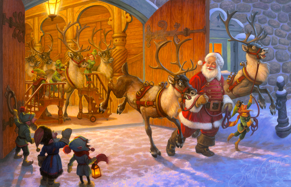"""""""Christmas Eve and Raring to Go!"""" - original oil painting 38"""" x 24."""" Prints now available - see below. Please note: watermark will not appear on final print."""