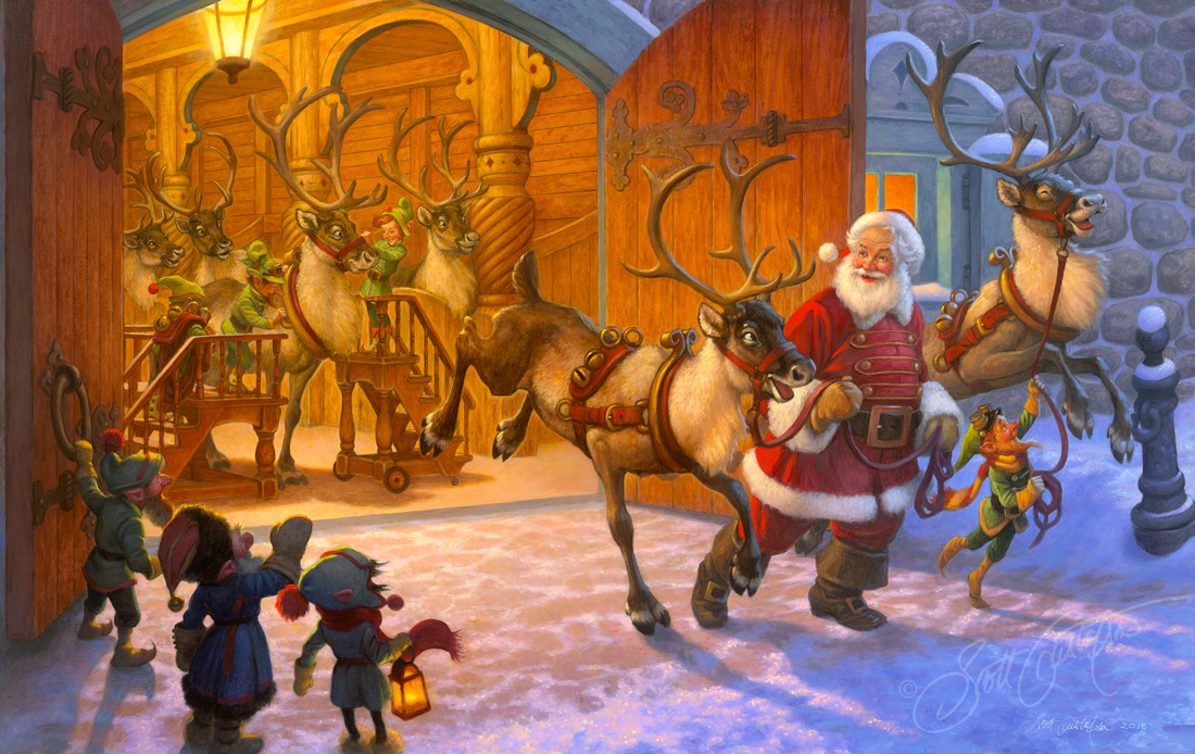 """""""Christmas Eve and Raring to Go!,"""" oil on panel, 38"""" x 24,"""" sold as a personal commission oil painting."""