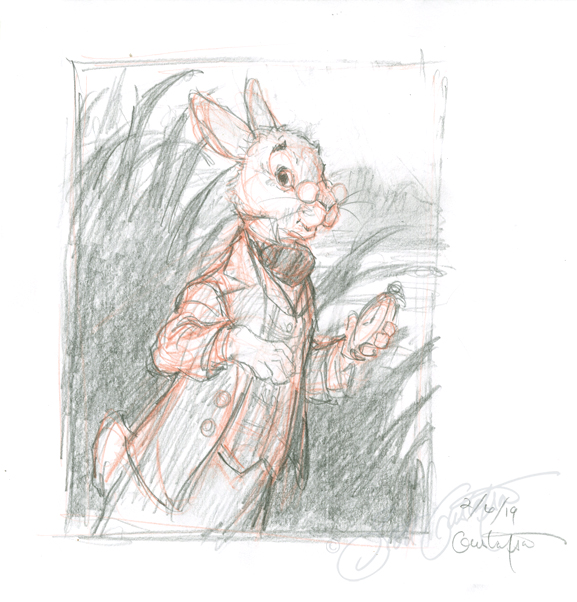 """White Rabbit 1,"" image size: 4.5"" x 6,""      available for sale     ."