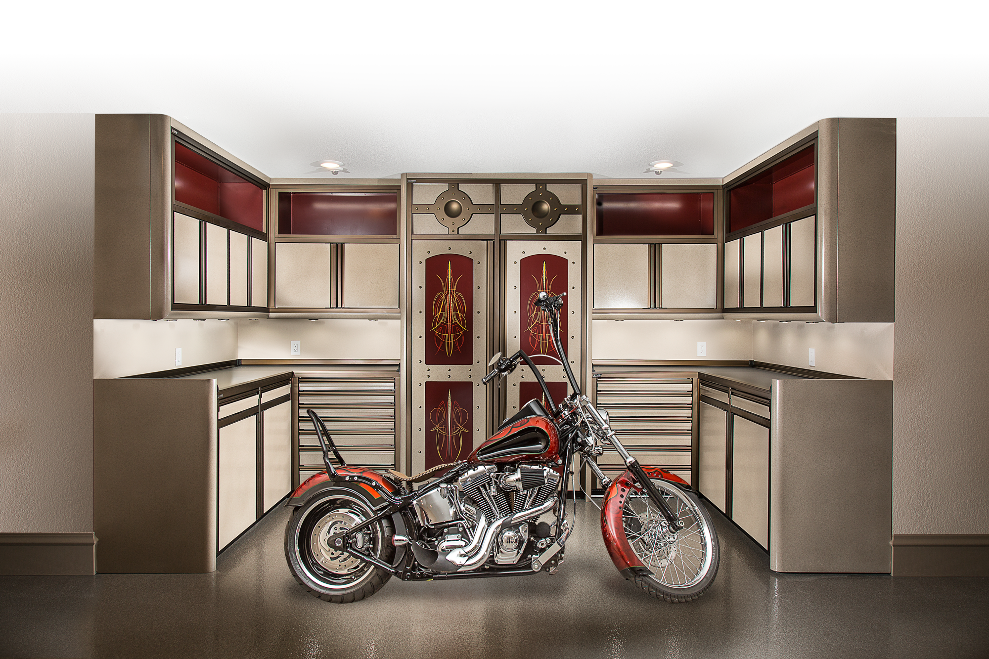 PREMIER Cabinets - Custom cabinets outfitted with radius panels, LED lighting, custom anodized framework and handles - Paul Greenheck, Show Garage