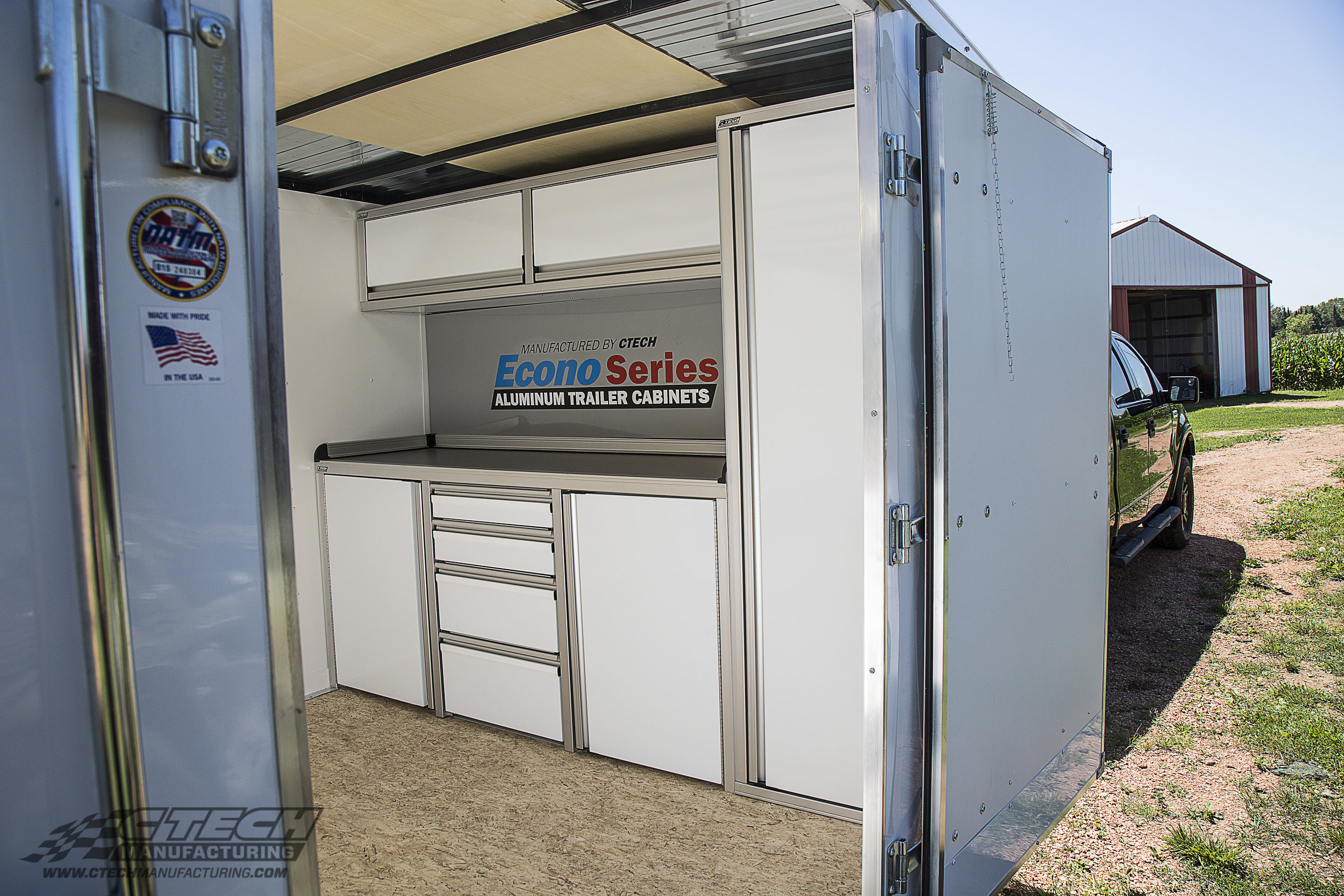 Unlock your trailer's true potential with Econo Series trailer cabinets from CTECH, designed to optimize and expand your interior trailer storage and workspace. Econo cabinets are available in many affordable configurations, are delivered quickly and can be easily installed. BOM Q31477
