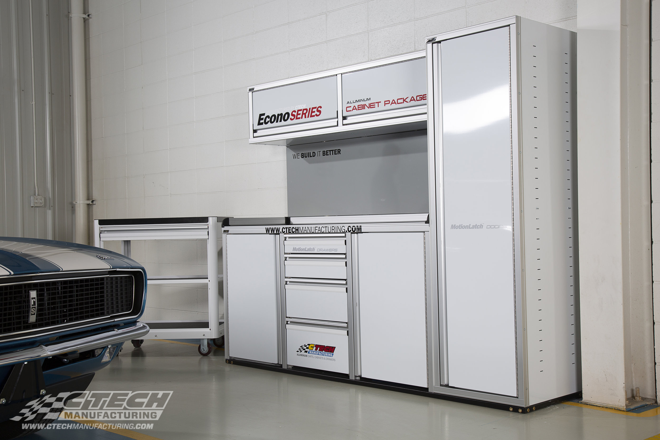 Adding a lightweight cabinet system from CTECH is a great way to easily add more storage and functionality to any size trailer or garage space. Standard Econo Series cabinet packages offer innovative features like MotionLatch and GasketLoc technology at our most affordable price. Complete the setup with a CTECH Service Cart! BOM Q31477/Q35755
