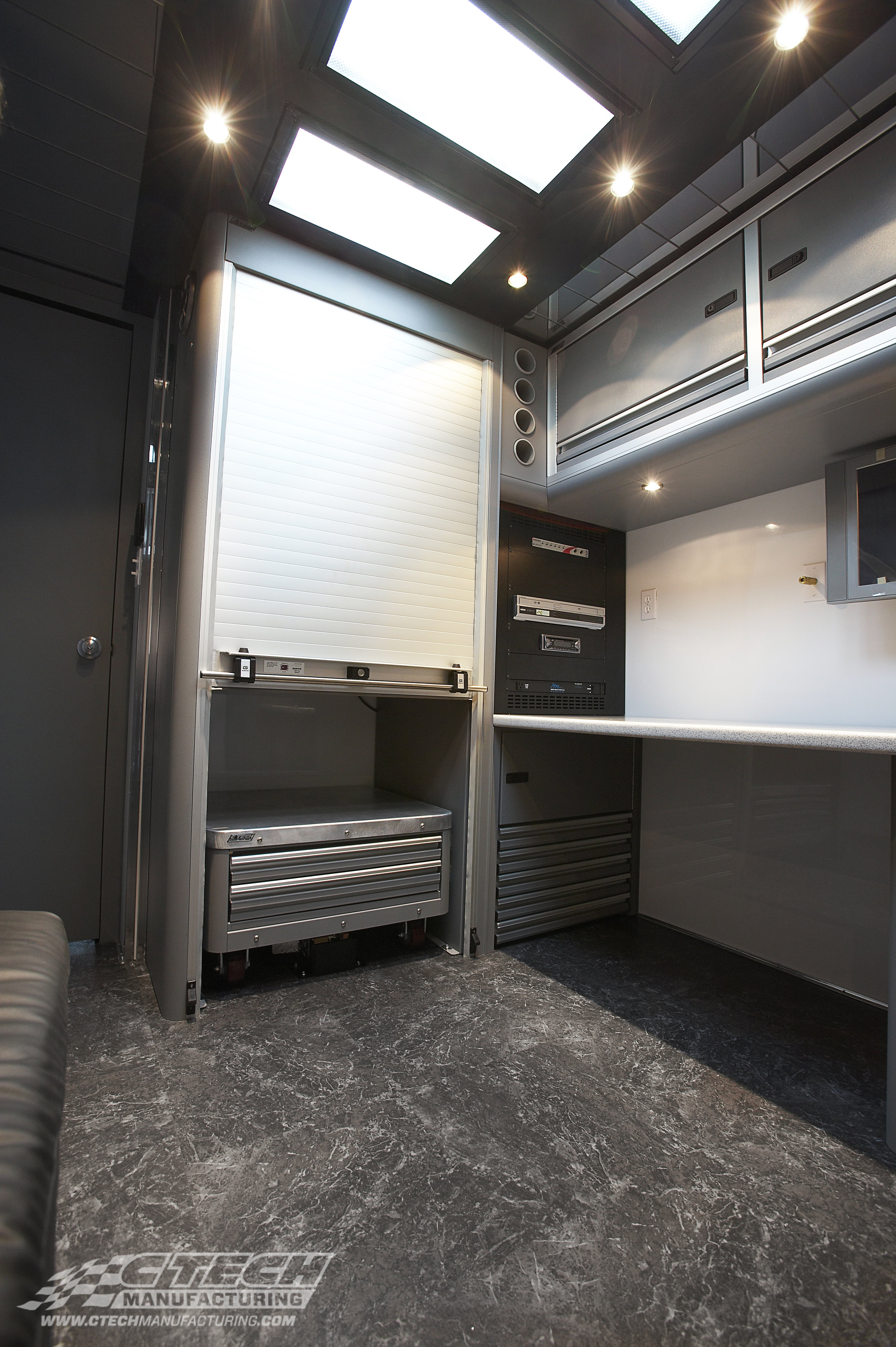 Small or large space, simple or intricate design, CTECH provides an exceptional product. Media and hospitality trailers have to do much more than store parts, so CTECH integrates power/media components, and dedicated spaces for all kinds of equipment into our storage spaces when needed.