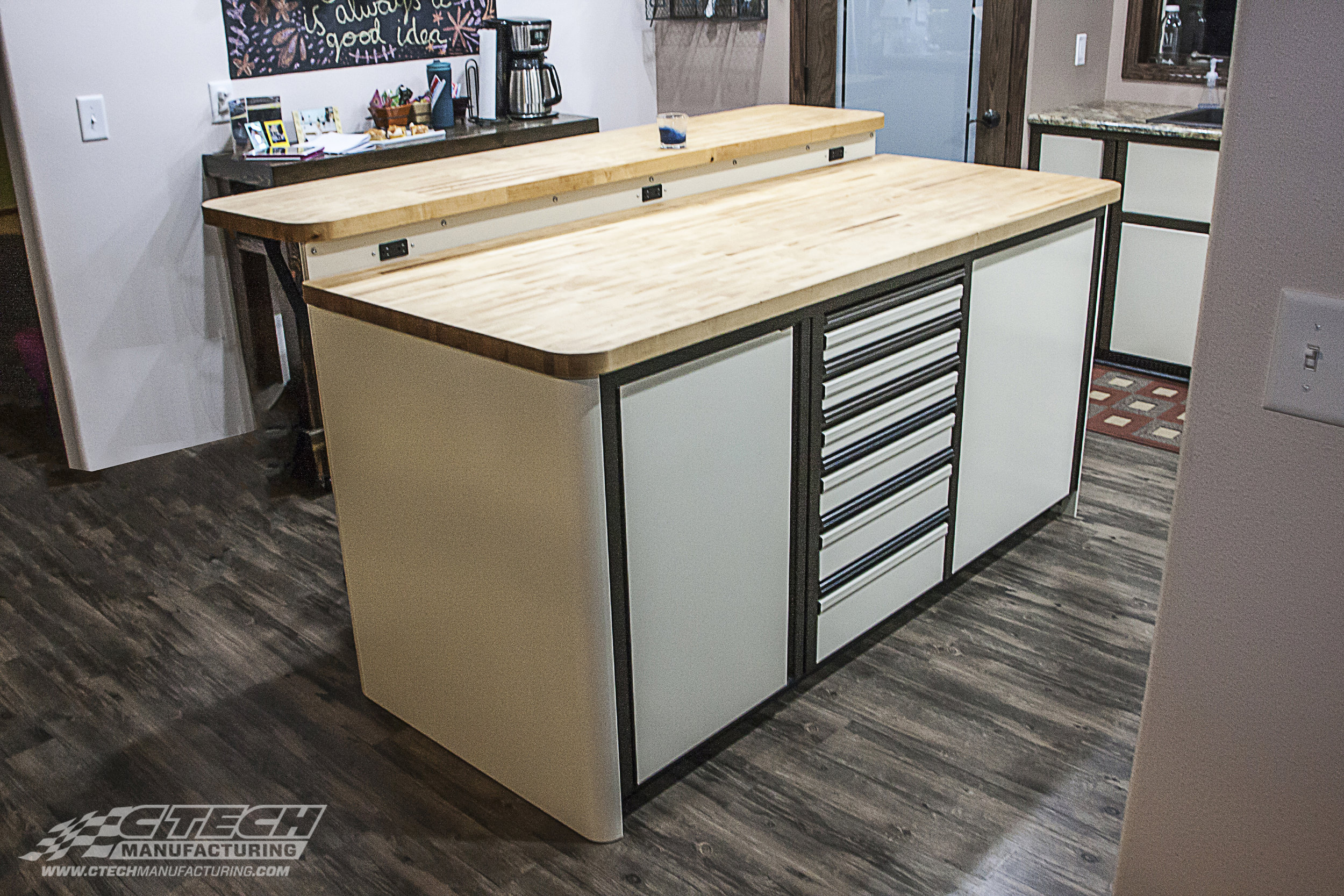 High-tech aluminum cabinets aren't just for the garage or trailer. CTECH cabinets look as good as they perform which means they're an excellent addition to a bath or kitchen space that could benefit from a sleek, modern, and flush-faced storage system.